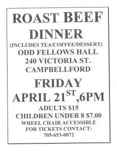 Roast Beef Dinner @ Odd Fellows Hall  | Harcourt | Ontario | Canada