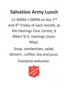 Salvation Army Lunch @ Hastings Civic Centre | Ontario | Canada