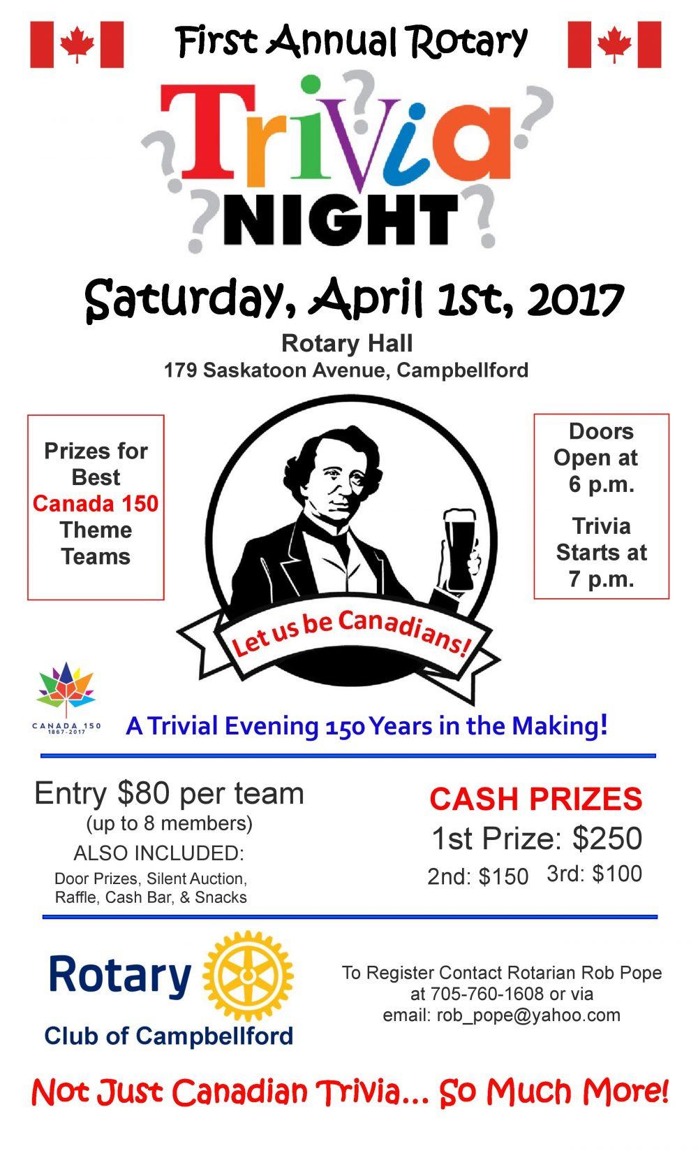 Trivia Night @ Rotary Hall | Campbellford | Ontario | Canada