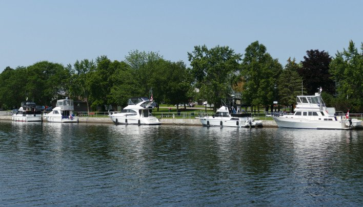 Boats in Old Mill Park, Campbellford, Trent Hills, ON