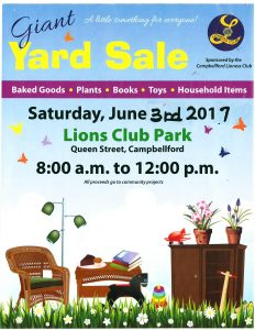 Campbellford Lioness Club: Giant Yard Sale @ Lions Club Park | Campbellford | Ontario | Canada