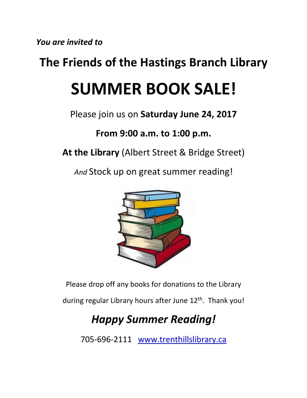 Summer Book Sale @ Hastings Branch Library | Ontario | Canada