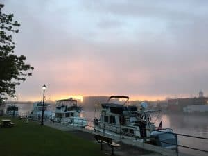 Boats docking at Old Mill Park in Campbellford under the sunrise